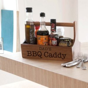 BBQ Condiment Caddy For Dad & Father's Day Personalised with Free Engraving. Personalised BBQ Storage Caddy Engraved with name up to 25 Letters.
