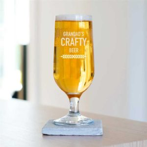Personalised Crafty Beer Glass Laser Engraved With Name. Stemmed Crafty Beer Glass with Personalised Engraving for Dad, Father's Day, Brother & Grandad.