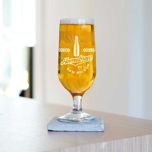 Personalised Homebrew Beer Glass Laser Engraved With Brewers Name. Stemmed Craft Beer Glass with Personalised Engraving for Home Beer Brewers.