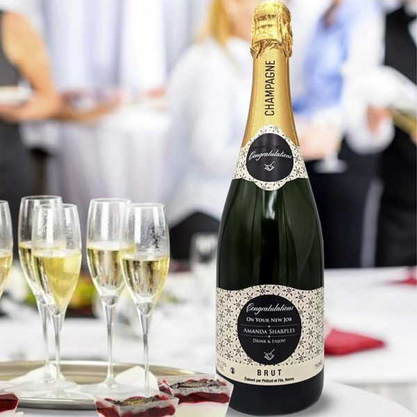 New Job Personalised Champagne Bottle Gift with Gift Box upgrade in Classic Brute, Rosé and Premium Champagne personalised on Bottle Labels.