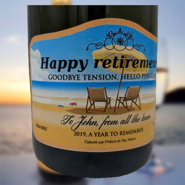 Retirement Personalised Champagne Bottle Gift with Gift Box upgrade in Classic Brute, Rosé and Premium Champagne personalised on Bottle Labels.