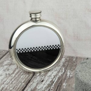Personalised Ska Hip Flask with Free Engraving and optional gift wrapping delivered direct to the recipient. Ska Hip Flask with Personalised Engraved message.