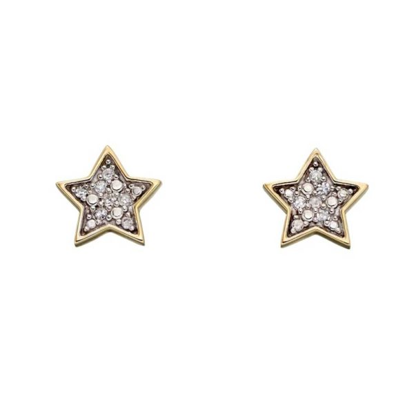 Handmade Diamond Earrings in personalised gift box. 9ct Yellow Gold Stud Earrings with 14 Pave Diamonds (0.058ct) for Bride, Christmas, Anniversary & Birthday