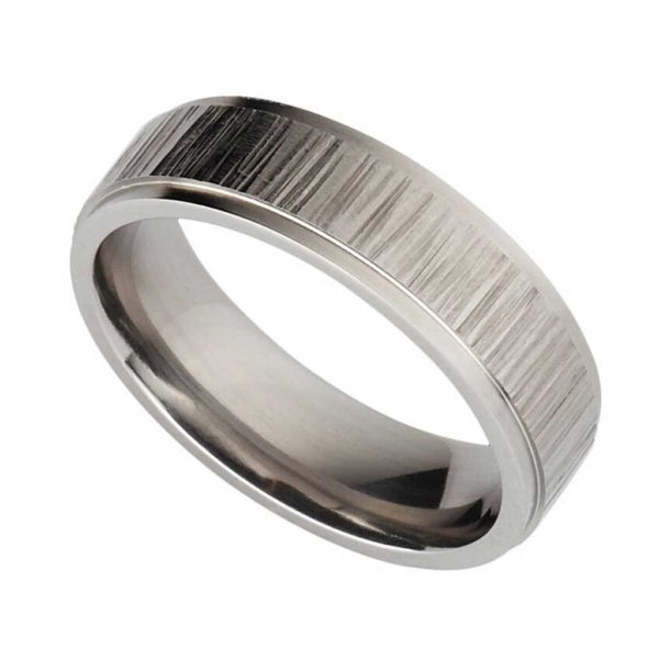 Handmade Men's Wedding Ring In Titanium with Hammered Detail. Made To Order Mens Titanium Wedding Ring with Personalised Engraving.