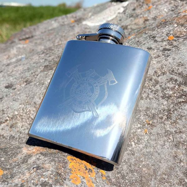 Logo Engraved Compact 3oz Hip Flask with Capture Top. Hip Flask Branded with Logo Graphic & Text in Carton Box + Wrapping, Gift Box & Filling Funnel Options