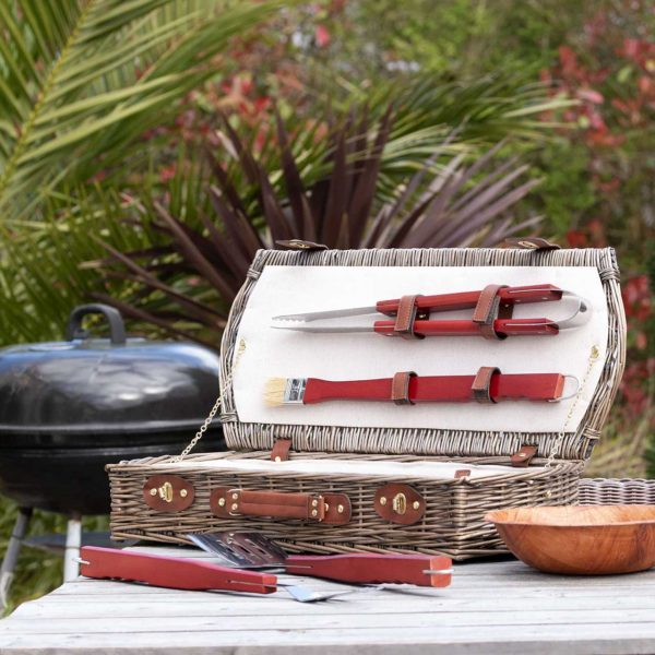 Personalised BBQ Tools Gift Set In Personalised Wicker Case for Dad, Birthday or Father's Day. BBQ Tool Set with 3 Engraved Letters on Wicker Carry Case. On ShopStreet.ie - Ireland