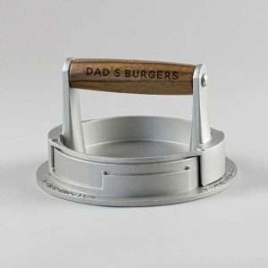 Personalised Burger Press for Handmade Homemade Burgers. Acacia Wood Handle Engraved with 20 Characters for Dad, BBQ's and Burger Night Fun!
