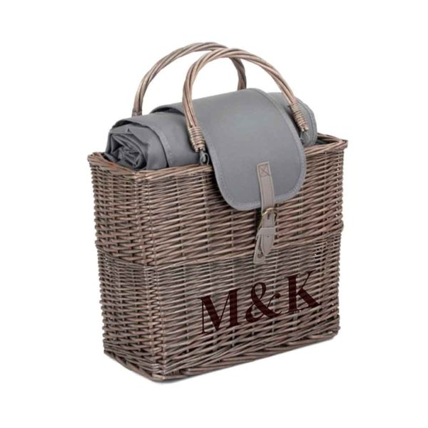 Personalised Picnic Basket With Blanket & Chiller Bag Engraved with 3 Initials. Picnic in the Park in style with this Antique Wash Willow Wicker Picnic Basket