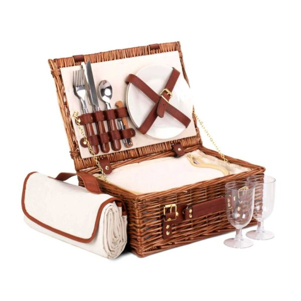 Personalised Picnic Basket - Luxury Two Person Picnic Hamper Set with two engraved Initials. Plates, Bottle opener, Blanket, cooler bag, cutlery & glasses. Available on ShopStreet.ie - Picnic Basket Ireland