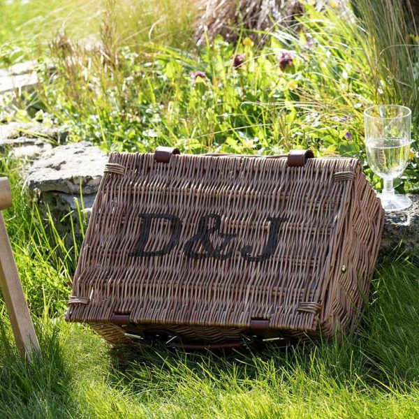 Personalised Picnic Basket - Luxury Two Person & Four Person Picnic Hamper Sets with two engraved Initials. Plates, Bottle opener, Blanket, cooler bag, cutlery & glasses. Available on ShopStreet.ie - Picnic Basket Ireland