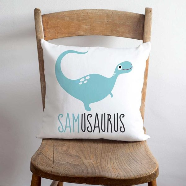 Dinosaur Name Personalised Child's Cushion. Personalised Child's Cushion with their Dinosaur Name Printed below a Smiling Blue Dinosaur for Bedroom, Nursery, Boy, Girl, Kids, Grandchild or Grandchildren.