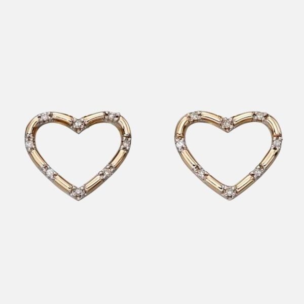 Diamond Heart Earrings in 9ct Yellow Gold With Anti-tarnish Coating in personalised gift box. Diamond Heart Earrings Gift for Bride, Christmas, Anniversary...