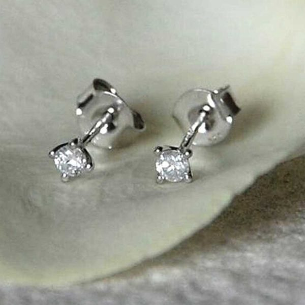 Handmade Solitaire Diamond Stud Earrings in personalised gift box. 9K White Gold Stud Earrings with Prong Set 4mm 0.075ct Diamonds with Min I2 clarity
