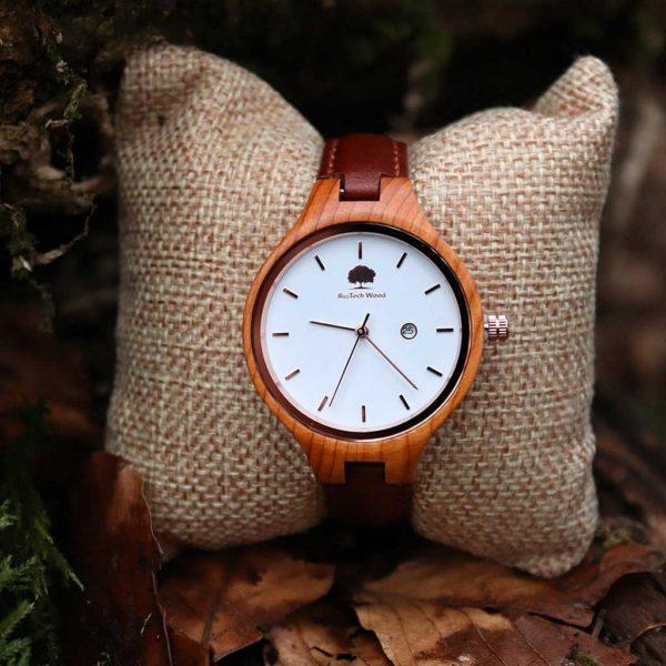 Handmade Personalised Woman's Watch in Yew Wood with Free Engraving. Engraved Woman's Watch Handcrafted in Yew Wood, Galway, Ireland. Handmade Irish Uaireadóir.