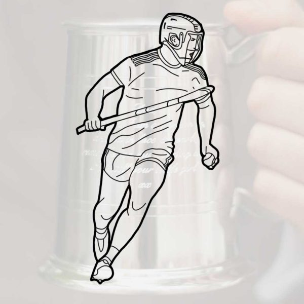 Personalised Hurling Tankard for Hurlers with GAA Hurling Club or County Logo or Crest Engraved on Back. Hurling Tankard is Handmade & Engraved to Order.