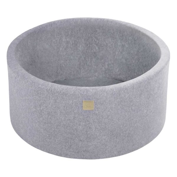 Light Grey Velvet Ball Pool For Kids - Quality Round Velvet Light Grey Foam Ball Pool With 200 or 250 Balls, Machine Washable Cover & Custom Ball Colours. Size: 90x40cm