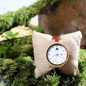 Personalised Womans Oak Wood Watch with Free Personalised Engraving. Woman's Oak Watch Handcrafted in Galway, Ireland. Handmade Irish Uaireadóir.