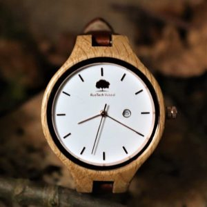Personalised Womans Oak Wood Watch with Free Personalised Engraving. Woman's Oak Watch Handcrafted in Galway, Ireland. Handmade Irish Uaireadóir.