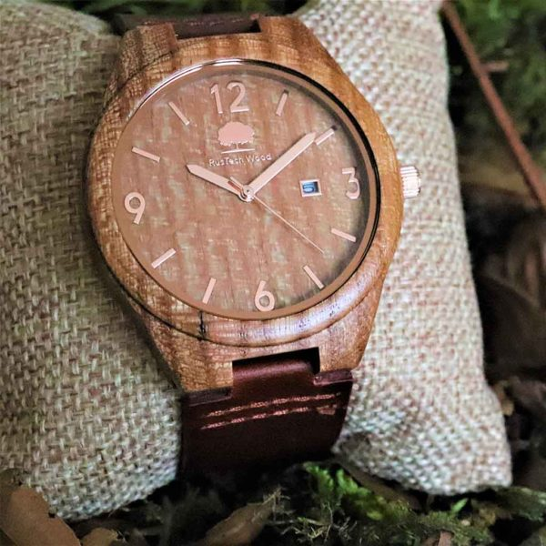 Handmade Irish Watch with Free Personalised Engraving. Wych Elm Mens Watch Handcrafted in Galway, Ireland. Unique Irish Made Watch Shipped from Ireland.