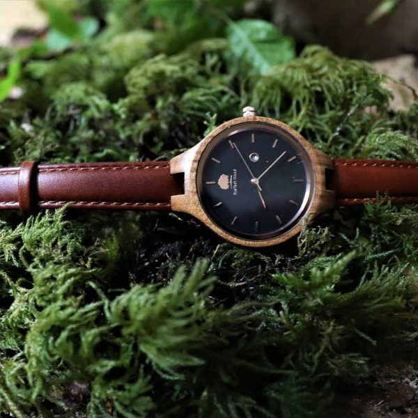 Personalised Wych Elm Womans Wood Watch with Free Personalised Engraving. Wych Elm Woman's Watch Handcrafted in Galway, Ireland. Handmade Irish Watch.