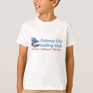 Sailing Club T-Shirt for Junior sailors with Galway City Sailing Club Logo printed on the T-Shirt. Galway City Sailing Club facilitate sailing for families & youths