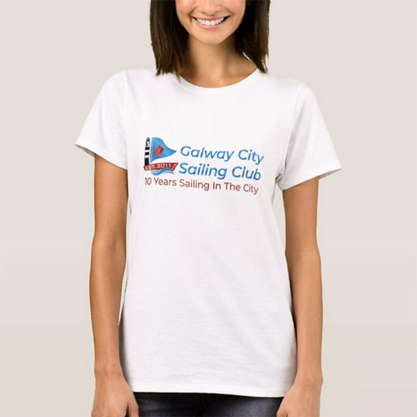 Sailing Club T-Shirt for women sailors with Galway City Sailing Club Logo printed on the T-Shirt. Galway City Sailing Club sailing for families & youths
