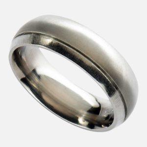 Mens Titanium Wedding Ring - Handmade Men's Wedding Ring In Polished and Satin Finish Titanium. Made To Order Men's Titanium Wedding Ring with Personalised Engraving & Gift Wrapping.