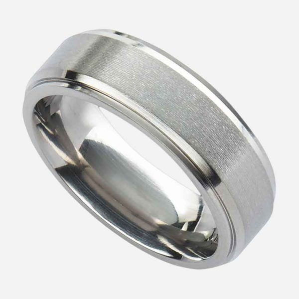 Men's Wedding Ring Handmade In Titanium with Bevelled, Stepped Double Edge & Satin Finish Centre. Made To Order Mens Titanium Wedding Ring with Engraving.