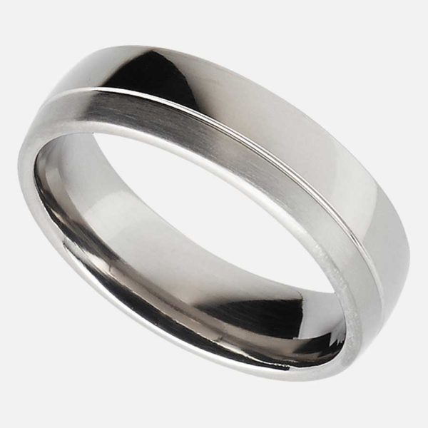 Handmade Men's Wedding Ring In Titanium - Blended Court Wedding Ring with Off Set Groove. Made To Order Personalised Mens Titanium Wedding Ring.
