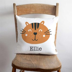 Personalised Child's Cat Cushion with Child's Name Printed below a Smiling Orange Cat Face for Bedroom, Nursery, Boy, Girl, Kids, Grandchild or Grandchildren.
