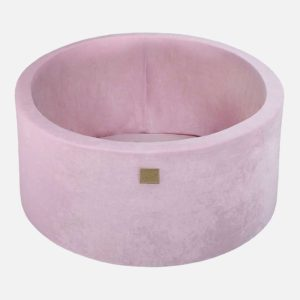 Pink Velvet Ball Pool For Kids - Quality Round Velvet Pastel Pink Foam Ball Pool With 200 Balls, Machine Washable Cover with Custom Ball Colours. 90x40cm.