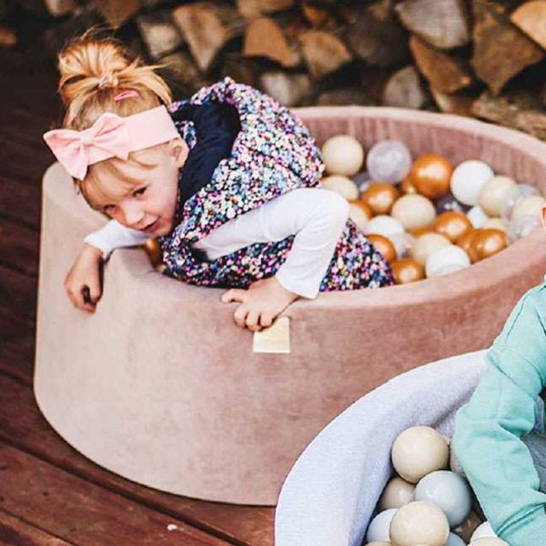 Ball Pit For Kids - Quality Round Velvet Pastel Pink Foam Ball Pit With 200 Balls, Machine Washable Cover with Custom Ball Colours. 90x30cm or 90x40cm