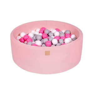 Ball Pit For Kids - Quality Round Velvet Pastel Pink Foam Ball Pit With 200 Balls, Machine Washable Cover with Custom Ball Colours. 90x30cm.