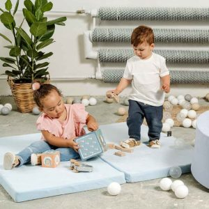 Baby Blue Play Mat - Square Foam Playmat For Children, New Born, Babies, Toddlers, Kids, Bed Room & Nursery. Soft & Child Safe. 120x120x5cm.