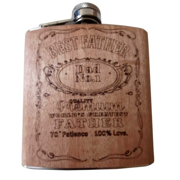 """Fathers Day Hip Flask   Best Father   Dad No1. """"Best Father"""" Father's Day Hip Flask. Fun Fathers hip flask with """"70% Patience & 100% Love"""" on the front for 6ozs of Dads favourite nip. On ShopStreet.ie"""