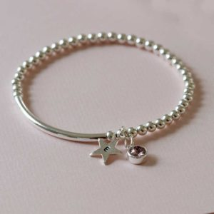 Birthstone & Star Initial Charm Personalised Silver Bracelet in a Personalised Gift Box. Choice of Swarovski Crystal Birthstone & Hand Stamped Silver Initial.