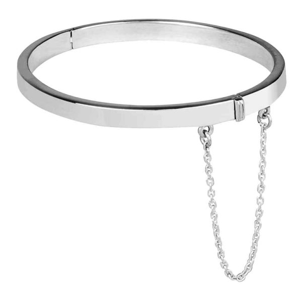 Baby Bangle with Safety Chain for Child, Godchild or Grandchildren. Handmade Polished Silver Christening Bangle with Personalised Engraving Baby Gift.