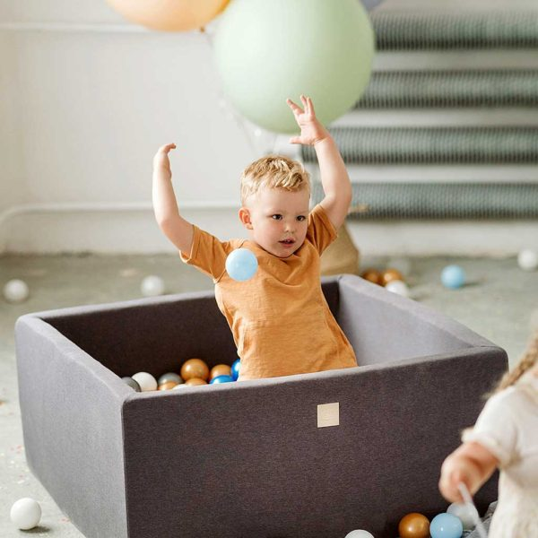 Dark Grey Square Ball Pit For Toddlers - Quality Square Dark Grey Foam Ball Pit with 200 or 300 Balls, Machine Washable Cover & Custom Ball Colours. 90x40cm. ShopStreet.ie - Soft Play Ireland