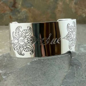 Personalised Embossed Flower Silver Cuff Bangle. Handmade & Hallmarked Silver Cuff Bangle Engraved on Outside & Inside. Handmade Silver Ladies Gift For Her