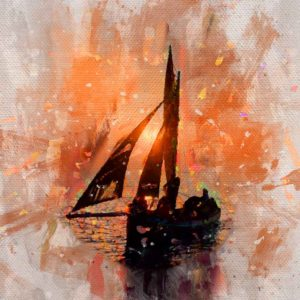 Galway Hooker At Sunset - Wall Art Poster of Galway Hooker at Sunset on Galway Bay. Galway Hookers are Traditional Sailing Boats that sail on Galway Bay, Ireland.