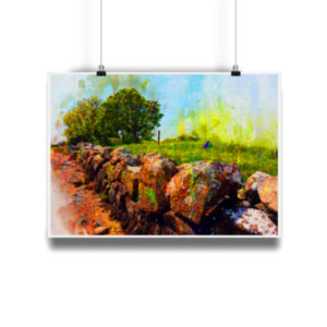 Wall Art Poster of Galway Stone Wall In Summer by the shore of Galway Bay, Ireland. Museum quality A4 Art Bamboo Print.