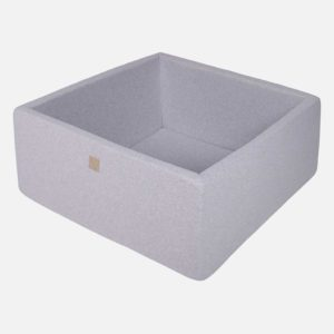 Light Grey Square Ball Pit For Kids - Quality Square Light Grey Foam Ball Pit With No Balls, 200 or 300 Balls, Machine Washable Cover & Custom Ball Colours. 90x40cm. ShopStreet.ie - Soft Play Ireland