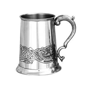 Celtic Tankard. Classic Celtic Personalised Pewter Tankard. One Pint Tankard with optional Personalised Text Engraving and Gift Wrapping.