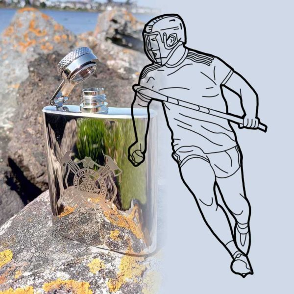 Hurling Hip Flask Engraved With Hurler & Personalised Text Engraving for GAA Hurlers, Hurling Fans & Supporters. 3oz Hip Flask, Capture Top, Gift Wrapping, Carton Box. Gift Box & Filling Funnel Option on ShopStreet.ie Hurling Gifts.