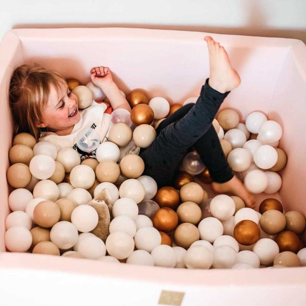 Pink Square Ball Pit For Toddlers - Square Light Pink Foam Play Pond With 200 or 300 Balls, Machine Washable Cover & Custom Ball Colours. 90x40cm. ShopStreet.ie - Soft Play Ireland