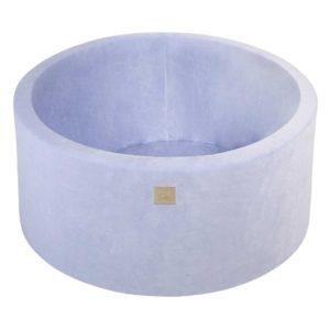 Blue Velvet Ball Pit For Children - Large Round Blue Velvet Foam Play Pit With 200 or 250 Balls, Machine Washable Cover & Custom Ball Colours. 90x40cm.