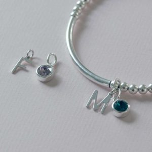Handmade Birthstone & Initial Charm Silver Bracelet in a Personalised Gift Box with Free Engraving. Choice of Swarovski Crystal Birthstone.
