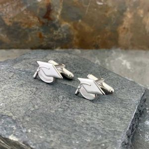 Graduation Silver Cufflinks For Graduates, Students, Teachers or Lecturers. Handmade Sterling Silver Graduation Graduate Cufflinks. Gift Wrapping Available.