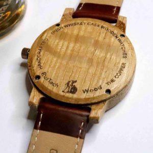 Handmade Irish Whiskey Cask Wood Watch with Free Personalised Engraving.