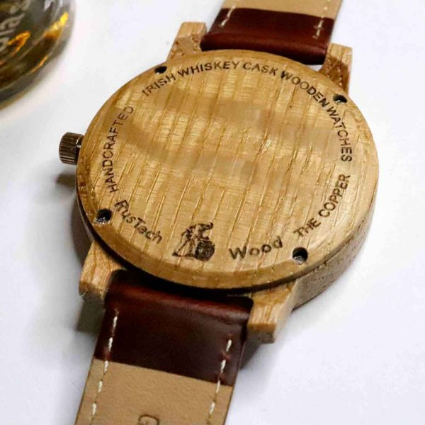 """Handmade Irish Whiskey Cask Wood Watch with Free Personalised Engraving. """"The Cooper"""" is Handcrafted in Galway, Ireland from Irish Distillery Cask Barrels."""